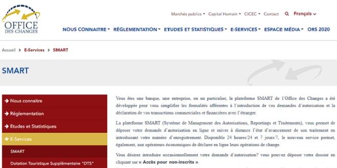 """L'Office des changes lance la plateforme """"SMART"""""""