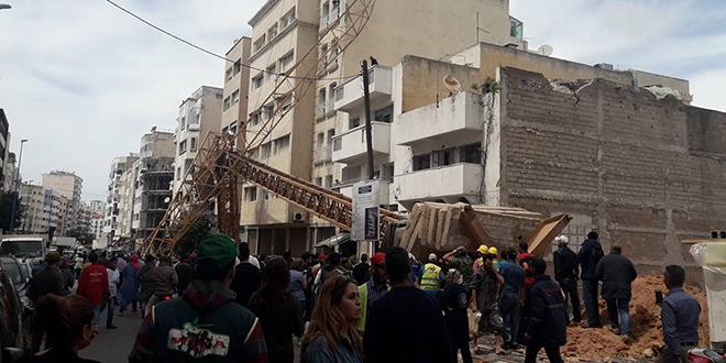 VIDEO/ Casablanca : La chute d'une grue fait des blessés