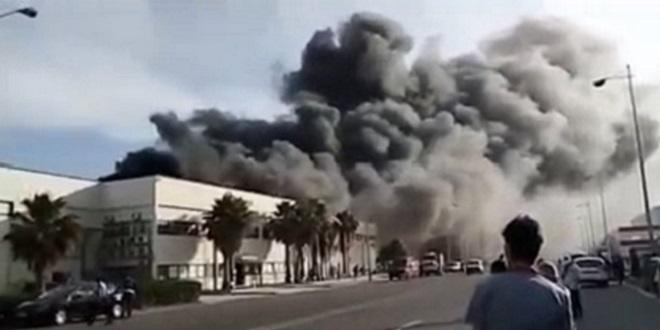 Tanger: Une usine de câblage prend feu