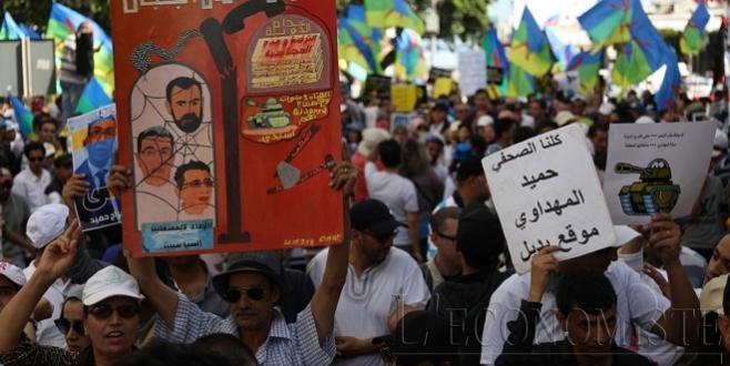 DIAPO/ Rabat : Forte mobilisation pour les détenus du Hirak