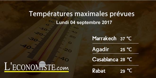 Températures maximales pour la journée du lundi 4 septembre 2017