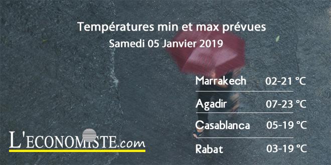 Températures min et max prévues - Samedi 05 Janvier 2019