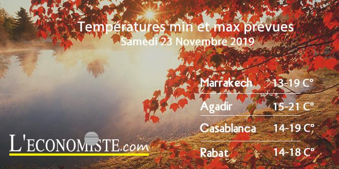 Températures min et max prévues - Samedi 23 Novembre 2019