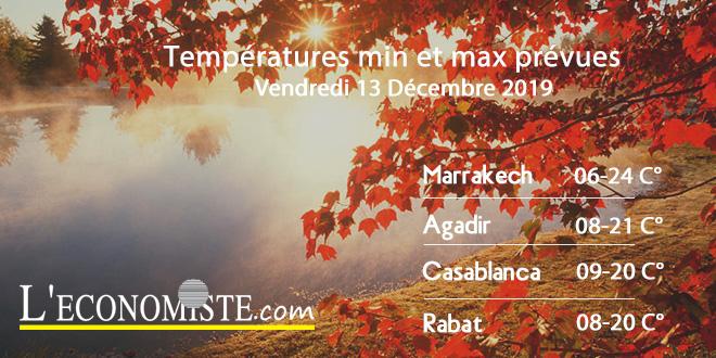 Températures min et max prévues - Vendredi 13 Décembre 2019