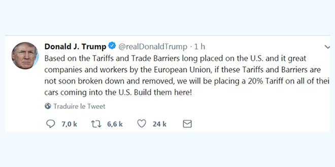 Trump menace d'imposer une taxe sur les voitures importées de l'UE